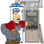 Cartoon man working on a furnace